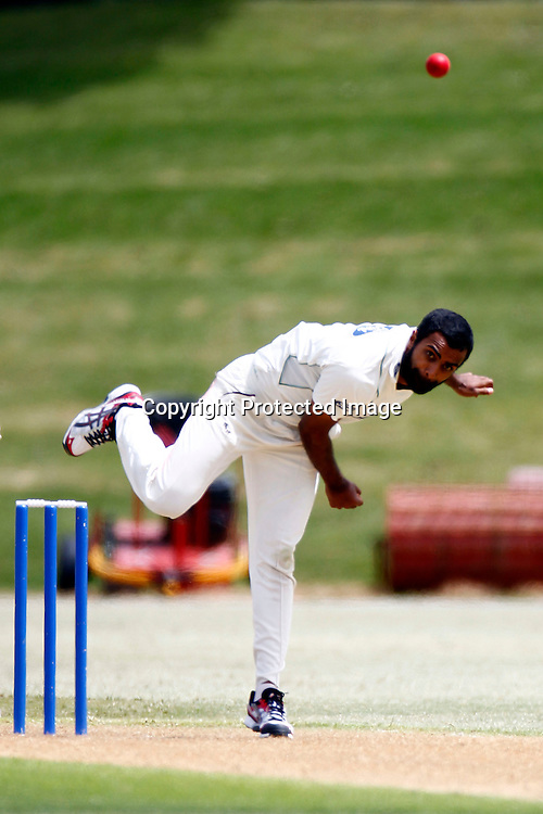 Central's Tarun Nethula during the plunket shield cricket match between the Auckland Aces and the Central Stags. Domestic 4 day cricket. Colin Maiden Park, Auckland. 30 November 2011. Photo: William Booth/photosport.co.nz