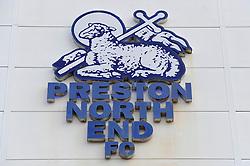 A Preston North End logo on the outside of the Deepdale Stadium - Photo mandatory by-line: Dougie Allward/JMP - Mobile: 07966 386802 - 11/04/2015 - SPORT - Football - Preston - Deepdale - Preston North End v Bristol City - Sky Bet League One