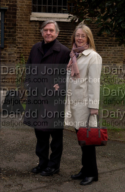 Mr. and Mrs. Tom Courtney, David Hemmings memorial service. St. Mary's, Paddington Green. 24 March 2004. ONE TIME USE ONLY - DO NOT ARCHIVE  © Copyright Photograph by Dafydd Jones 66 Stockwell Park Rd. London SW9 0DA Tel 020 7733 0108 www.dafjones.com