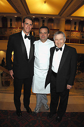 Left to right, BEN ELLIOT, MARK HIX and JONATHAN DIMBLEBY at the Feast of Albion a sumptious locally-sourced banquet in aid of The Soil Association held at The Guildhall, City of London on 12th March 2008.<br />