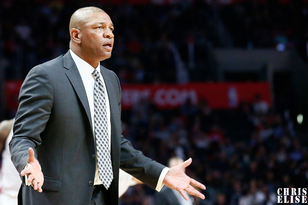 12 December 2016: LA Clippers head coach Doc Rivers reacts during the LA Clippers 121-120 victory over the Portland Trail Blazers, at the Staples Center, Los Angeles, California, USA.