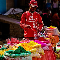 A typical color vendor at Barsana. Braj ki Holi