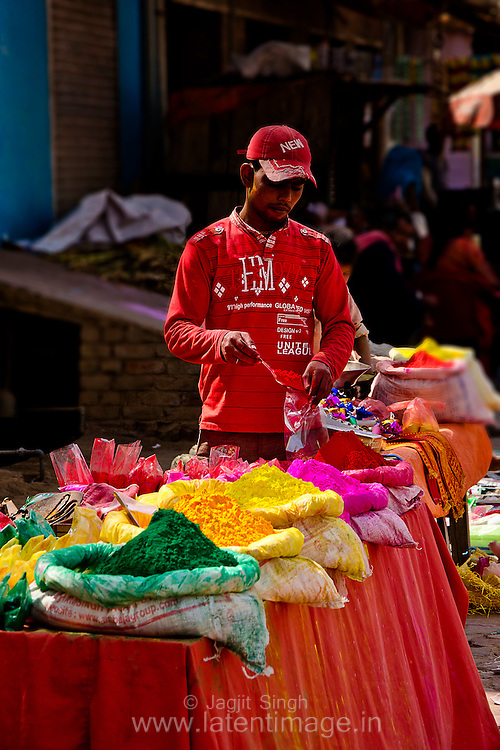 A typical color vendor at Barsana. Braj ki Holi