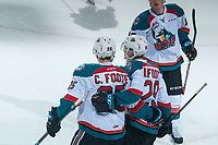 KELOWNA, CANADA - MARCH 14: Cal Foote #25 and Nolan Foote #29 of the Kelowna Rockets celebrate a first period goal against the Prince George Cougars  on March 14, 2018 at Prospera Place in Kelowna, British Columbia, Canada.  (Photo by Marissa Baecker/Shoot the Breeze)  *** Local Caption ***