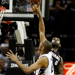 Jun 13, 2013; San Antonio, TX, USA; Miami Heat small forward LeBron James (6) defends San Antonio Spurs power forward Tim Duncan (21) during the third quarter of game four of the 2013 NBA Finals at the AT&T Center. Mandatory Credit: Derick E. Hingle-USA TODAY Sports