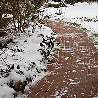 A brick path in the snow.