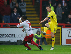 STEVENAGE, ENGLAND - Saturday, November 24, 2012: Tranmere Rovers' Jake Cassidy in action against Stevenage's Anthony Grant during the Football League One match at Broadhall Way. (Pic by David Rawcliffe/Propaganda)