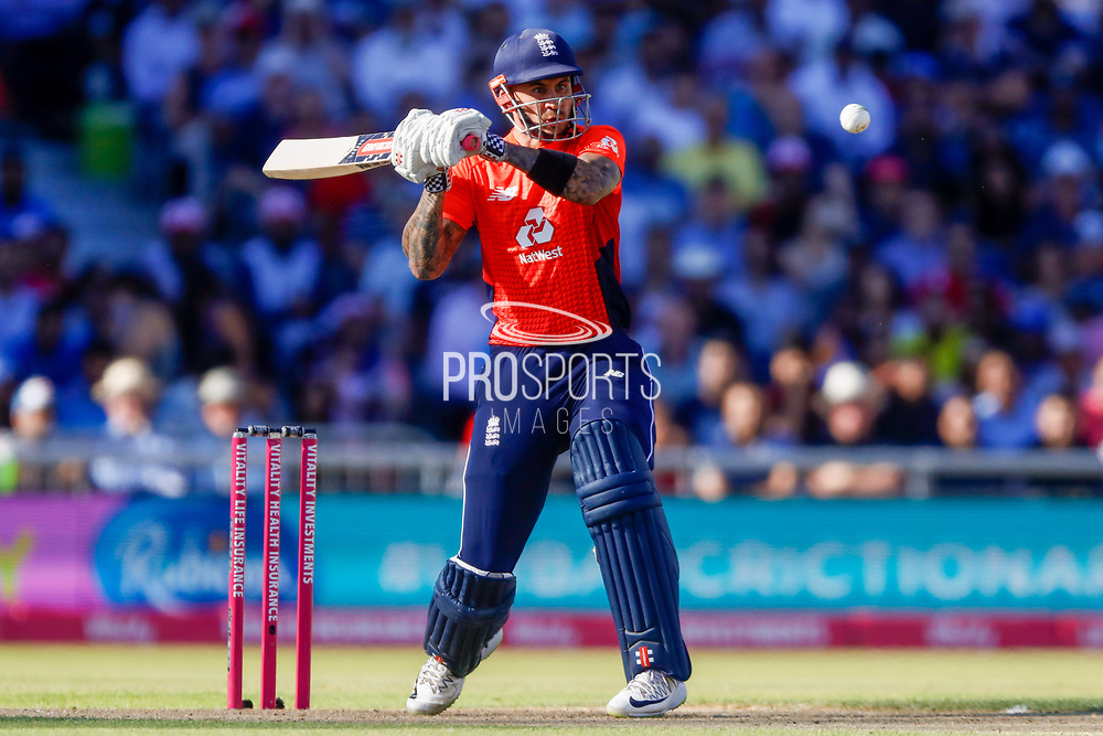 England T20 batsman Alex Hales looks to see of a high delivery during the International T20 match between England and India at Old Trafford, Manchester, England on 3 July 2018. Picture by Simon Davies.