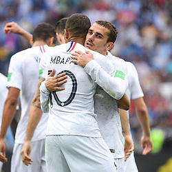 Kylian Mbappe and Antoine Griezmann of France celebrate during 2018 FIFA World Cup Quarter Final match  between France and Uruguay at Nizhniy Novgorod Stadium on July 6, 2018 in Nizhniy Novgorod, Russia. (Photo by Anthony Dibon/Icon Sport)
