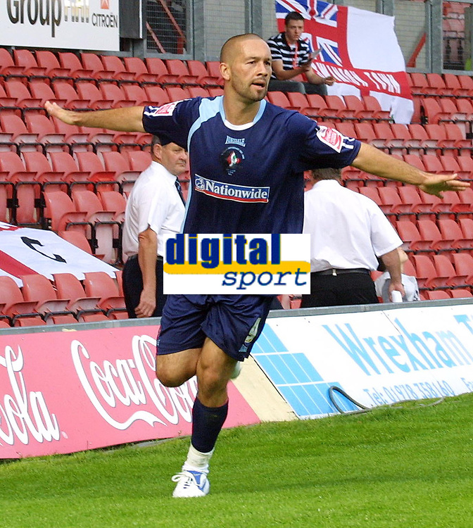 Photo: Dave Linney.<br />Wrexham v Swindon Town. Coca Cola League 2. 09/09/2006.Swindon's Christian Roberts celebrates after scoring, but the goal was offside.