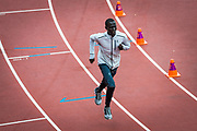 Member of the Refugee Athletes Team Dominic Lokinyomo takes part in a training session at the London Stadium during this year's IAAF World Athletics Championships where he will compete in the 1500m event.