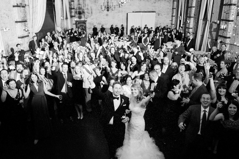 Overview of Erin and Joe's wedding reception at the Green Building in Brooklyn, New York.