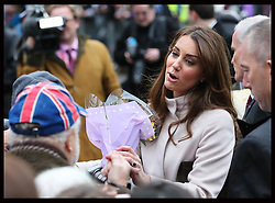 The Duchess of Cambridge on a walkabout in Market Square , Cambridge, Wednesday , 28th November 2012. .Photo by: Stephen Lock / i-Images