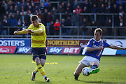 Oxford forward George Waring hits the shot during the Sky Bet League 2 match between Carlisle United and Oxford United at Brunton Park, Carlisle, England on 30 April 2016. Photo by Craig McAllister.