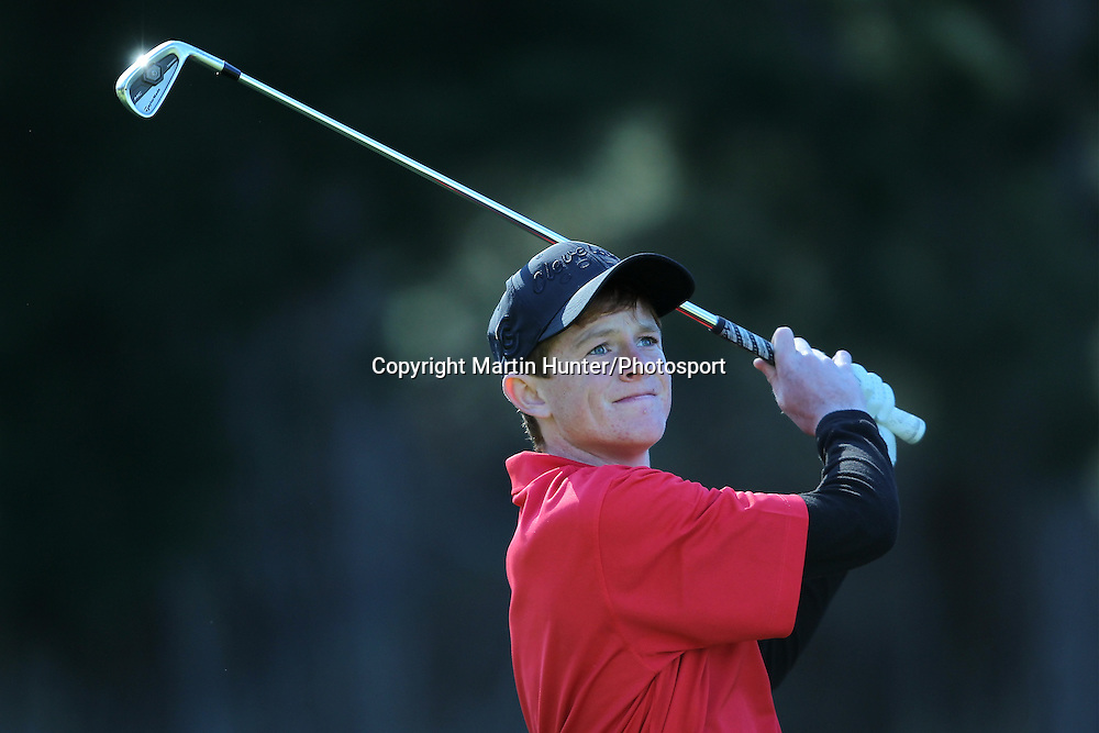 Connell Kilpatrick of St Bedes College plays a fairway shot during the 2013 NZ Secondary Schools Golf Championship at Templeton Club, Christchurch, New Zealand. 2 September 2013. Photo: Martin Hunter/photosport.co.nz