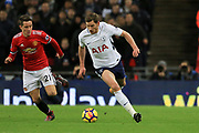 Jan Vertonghen of Tottenham Hotspur battles with Manchester United Midfielder Ander Herrera during the Premier League match between Tottenham Hotspur and Manchester United at Wembley Stadium, London, England on 31 January 2018. Photo by Phil Duncan.