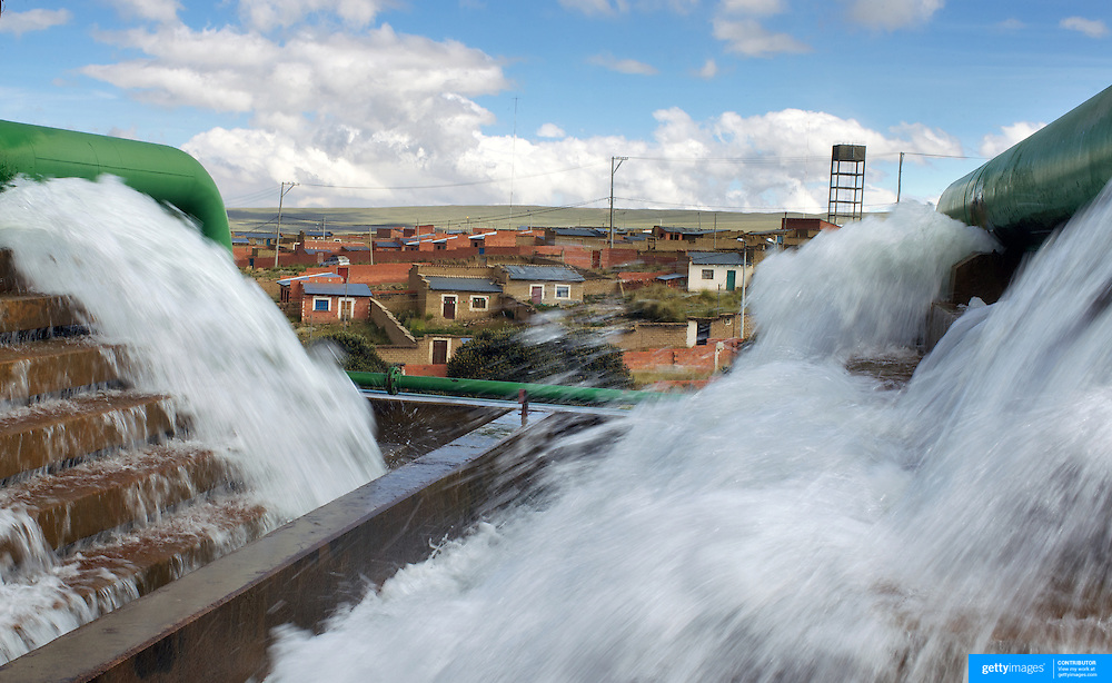 The Bolivian Ministry of Water treatment plant at Alto Lima, Bolivia is run by state-owned Bolivian water utility EPSAS which manages the water distribution and sanitation services in capital La Paz and neighboring city El Alto.<br /> <br /> Climate change and the fast diminishing glaciers in the Andes are posing a serious threat to water supplies. Scientists expect that global warming will melt most Andean glaciers in the next 30 years.<br />  La Paz and it's sprawling satellite city El Alto are vulnerable to the effects of climate change and the retraction of the glaciers. Over 2 million people in the region depend heavily on the thawing of Chacaltaya and neighboring glaciers for fresh water. The dams in the highland areas of the Altiplano divide are basically fed by two sources, rainfall and the glaciers, both are suffering from global warming. The declining levels of water in the dams is presenting another problem, contamination and the concentrations of salts, The Bolivian government have launched a number of schemes to help combat the shortage of water and improved water treatment to maintain quality as well as trying to educate and change habits of water usage.<br /> <br /> Cochabamba, Bolivia, will host the World's People's Conference on Climate Change and the rights of Mother Earth from April 19th to April 22, 2010.