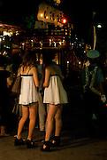 People enjoying themselves in the annual summer Stone-bringing Festival (Ishidori) in Kuwana City, Japan.