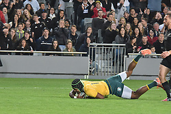 October 22, 2016 - Auckland, Auckland, New Zealand - Reece Hodge of Australia Wallabies scores a try  during the  Third Bledisloe Cup test match against New Zealand All Blacks on Oct 22. All Blacks defeats Wallabies 37-10. (Credit Image: © Shirley Kwok/Pacific Press via ZUMA Wire)