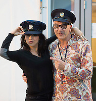 21/07/2016 Repro free:<br /> Imelda May who played the BIGTOP at the   Galway International Arts Festival with her drummer Stephen Rushton who had a little fun with some of the community Gardai on duty . Photo:Andrew Downes, xposure