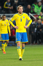 15.10.2013, Friends Arena, Stockholm, SWE, FIFA WM Qualifikation, Schweden vs Deutschland, Gruppe C, im Bild Sverige 3 Mikael Antonsson deppar efter match,, , Nyckelord , Keywords : football , fotboll , soccer , FIFA , World Cup , Qualification , Sweden , Sverige , Schweden , Germany , Tyskland , Deutschland portr©tt portrait // during the FIFA World Cup Qualifier Group C Match between Sweden and Germany at the Friends Arena, Stockholm, Sweden on 2013/10/15. EXPA Pictures © 2013, PhotoCredit: EXPA/ PicAgency Skycam/ Ted Malm<br /> <br /> ***** ATTENTION - OUT OF SWE *****