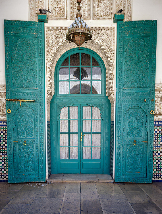 CASABLANCA, MOROCCO - CIRCA APRIL 2018: Detail of Interior of the Mahkama du Pacha in Casablanca. This is an administrative building constructed 1941-1942 in the Hubous neighborhood of Casablanca. The complex serves or has served as a courthouse, residence of the pasha (governor), parliamentary reception hall, and jail.