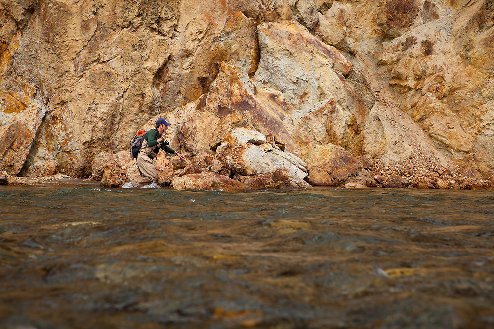 George Rogers fly fishing for arctic grayling, Jack River Alaska