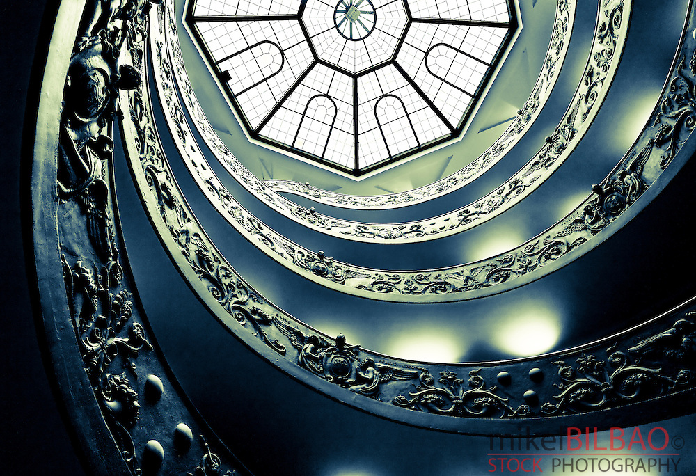 Spiral stairs of Giuseppe Momo. Vatican Museums, Vatican City, Rome.