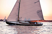 Vindex sailing in the Herreshoff S Class division of the Newport Yacht Club Tuesday night racing series.