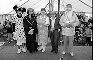 Adult Fancy Dress l to r: 4th Paula Rickatson, Askern; 3rd Gary Harman, Wistow;  2nd Margaret and Marie, Frickley; 1st Margaret Gibson, Thurcroft. 1991 Yorkshire Miners Gala. Doncaster.