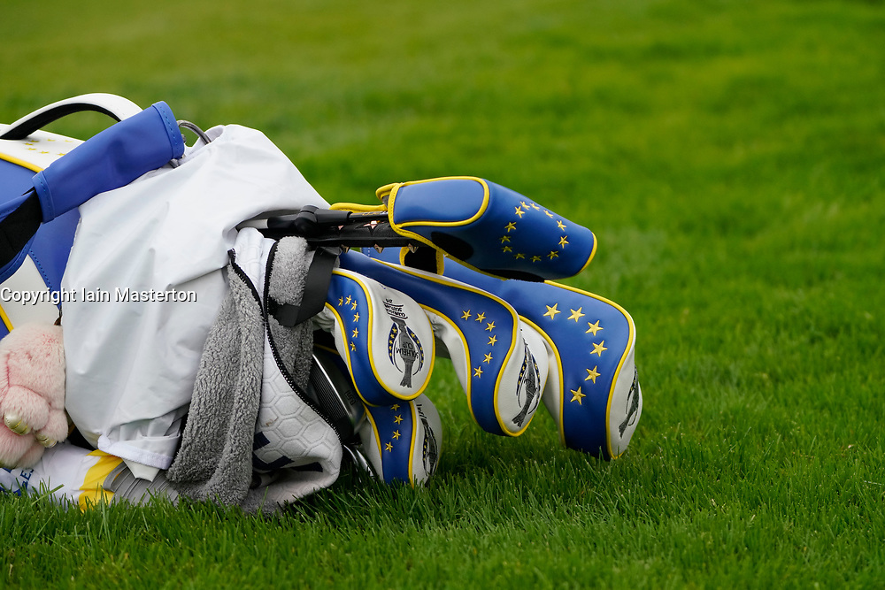 Auchterarder, Scotland, UK. 14 September 2019. Saturday afternoon Fourballs matches  at 2019 Solheim Cup on Centenary Course at Gleneagles. Pictured; Detail of bag of clubs used by Team Europe. Iain Masterton/Alamy Live News