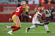 Cleveland Browns wide receiver Odell Beckham (13) drops a pass in front of San Francisco 49ers cornerback Richard Sherman (25) during an NFL football game, Monday, Oct. 7, 2019, in Santa Clara, Calif. The 49ers defeated the Browns (Peter Klein/Image of Sport)
