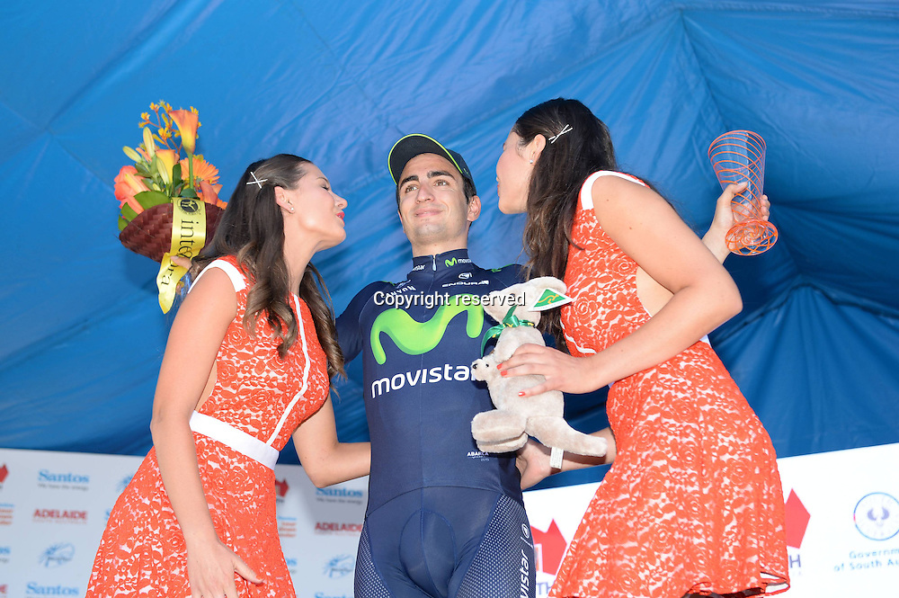 21.01.2015. Unley to Stirling. Tour Down Under cycling tour.  Movistar 2015, Lobato Del Valle Juan Jose on the podium in Stirling