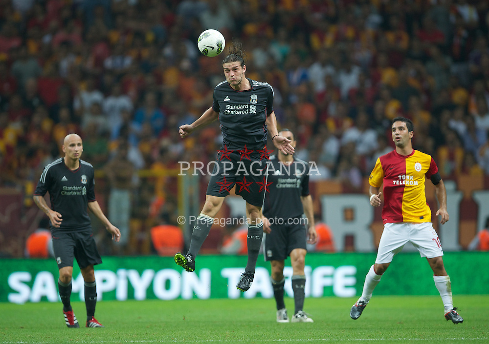 ISTANBUL, TURKEY - Thursday, July 28, 2011: Liverpool's Andy Carroll in action against Galatasaray during a preseason friendly match at the Turk Telekom Arena. (Photo by David Rawcliffe/Propaganda)