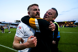 Newport County manager Michael Flynn and Dan Butler of Newport County celebrate winning through to the Sky Bet League Two Playoff Final - Mandatory by-line: Robbie Stephenson/JMP - 12/05/2019 - FOOTBALL - One Call Stadium - Mansfield, England - Mansfield Town v Newport County - Sky Bet League Two Play-Off Semi-Final 2nd Leg
