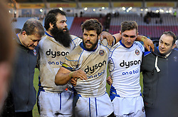 Bath Rugby captain Guy Mercer speaks to his team after the match - Photo mandatory by-line: Patrick Khachfe/JMP - Mobile: 07966 386802 31/01/2015 - SPORT - RUGBY UNION - London - The Twickenham Stoop - Harlequins v Bath Rugby - LV= Cup