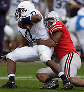 MORNING JOURNAL/DAVID RICHARD.Ohio State's Robert Rose sacks Penn State quarterback Daryll Clark to end the game.