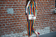 Striped Pantsuit and Gucci Bag, Outside the Show FW2017