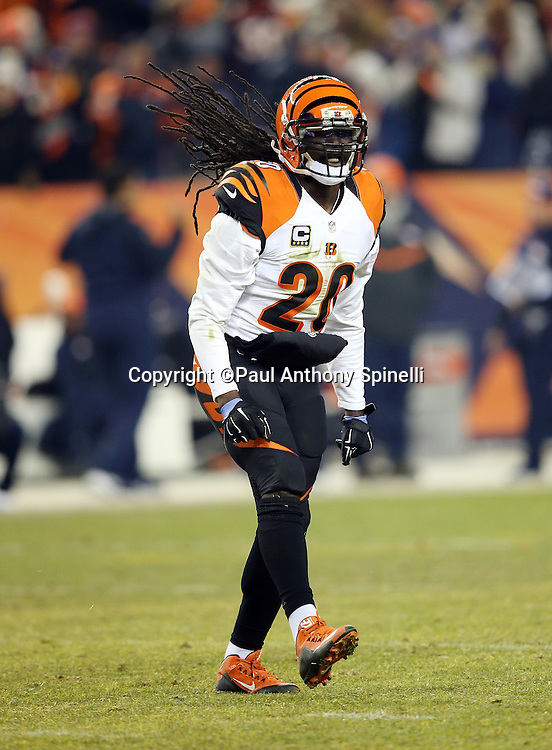 Cincinnati Bengals free safety Reggie Nelson (20) celebrates after the Denver Broncos miss a field goal at the end of regulation, forcing overtime, during the 2015 NFL week 16 regular season football game against the Denver Broncos on Monday, Dec. 28, 2015 in Denver. The Broncos won the game in overtime 20-17. (©Paul Anthony Spinelli)