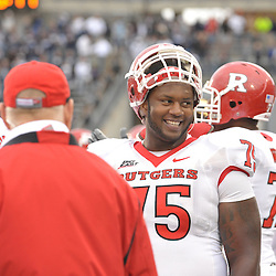 Oct 31, 2009; East Hartford, CT, USA; Rutgers offensive lineman Anthony Davis (75) smiles during the closing seconds of Rutgers' 28-24 victory over Connecticut in Big East NCAA college football at Rentschler Field.