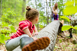 A young girl plays on a log in the woods at the Orris Falls Preserve in South Berwick, Maine.