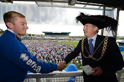 Lord Mayor of Bristol Alastair Watson presents Bristol Rovers' Danny Greenslade with his medal - Photo mandatory by-line: Dougie Allward/JMP - Mobile: 07966 386802 - 25/05/2015 - SPORT - Football - Bristol - Bristol Rovers Bus Tour