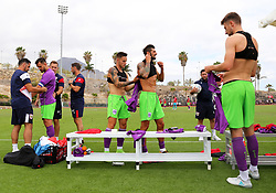 Bristol City players prepare before kick off - Mandatory by-line: Matt McNulty/JMP - 22/07/2017 - FOOTBALL - Tenerife Top Training - Costa Adeje, Tenerife - Bristol City v Atletico Union Guimar  - Pre-Season Friendly