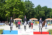Podium 1. Johanne Pauline von Danwitz - Habitus,  2. Anna Christina Abbelen - Fuerst on Tour, 3. Alexandra Andresen - Belamour,<br /> FEI European Dressage Championships for Young Riders and Juniors 2013<br /> © DigiShots
