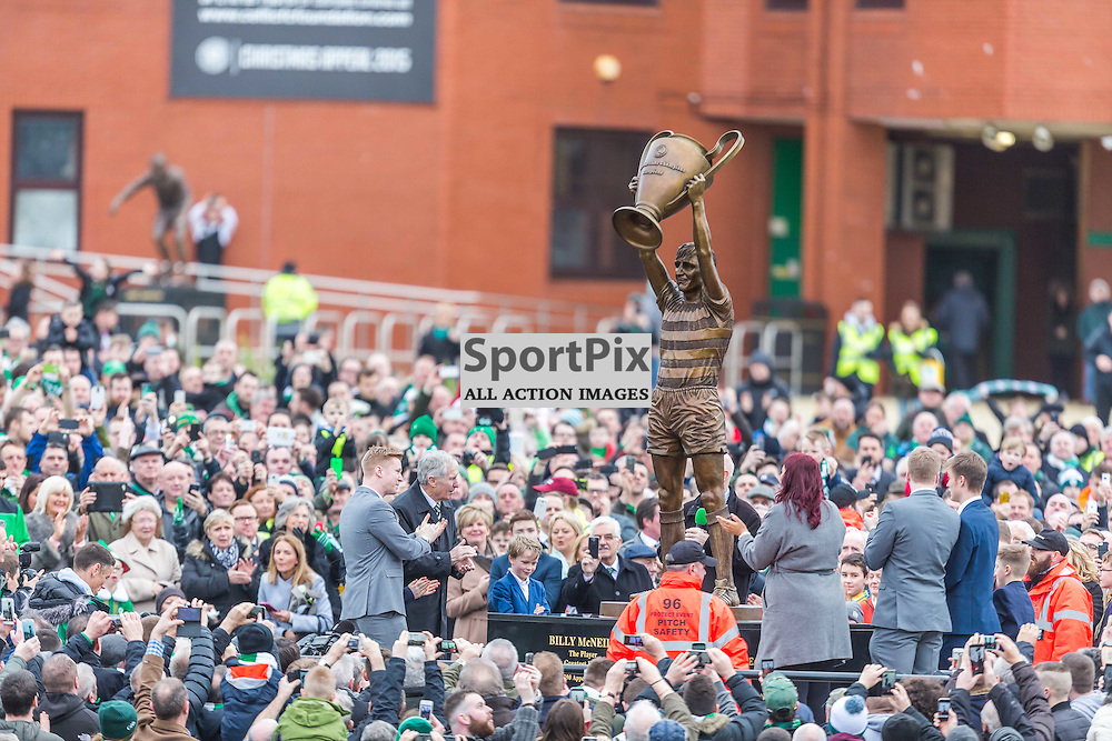 Bily McNeil and his family look on as Celtic Football club unveil his statel before the match between Celtic and Motherwell (c) ROSS EAGLESHAM | Sportpix.co.uk