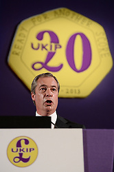 UKIP Leader Nigel Farage during his Keynote Speech at UKIP's annual conference, Central Hall, Westminster, London, United Kingdom. Friday, 20th September 2013. Picture by Ben Stevens / i-Images