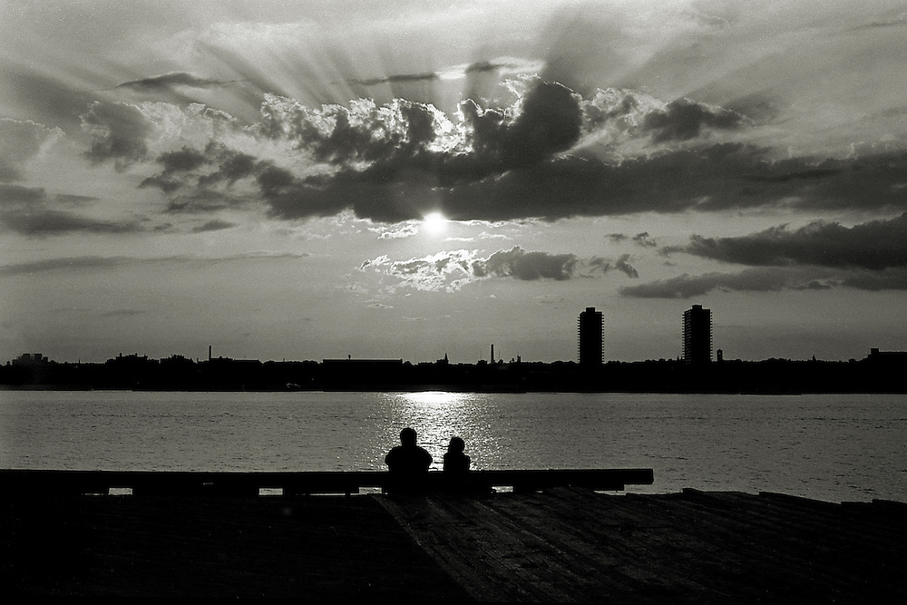 West Street Pier in Manhattan. Two lovers at sunset. June 22, 1978.