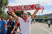 Poland fan and scarf during the Euro 2016 match between Poland and Northern Ireland at the Stade de Nice, Nice, France on 12 June 2016. Photo by Phil Duncan.