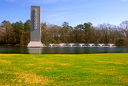Stock photo of the pond and fountains welcoming visitors to Kingwood, Texas
