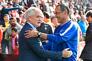 Southampton manager Mark Hughes with Chelsea manager Maurizio Sarri before the Premier League match between Southampton and Chelsea at the St Mary's Stadium, Southampton, England on 7 October 2018.